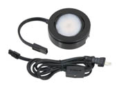 American Lighting MVP-1-BK 4.3 Watt, 120V AC, MVP Single LED Puck Light Kit With Roll Switch and 6 Ft. Power Cord - Black