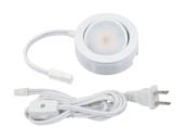 American Lighting MVP-1-WH 4.3 Watt, 120V AC, MVP Single LED Puck Light Kit With Roll Switch and 6 Ft. Power Cord - White
