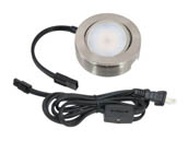 American Lighting MVP-1-NK 4.3 Watt, 120V AC, MVP Single LED Puck Light Kit With Roll Switch and 6 Ft. Power Cord - Nickel Finish