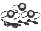 American Lighting MVP-3-BK 12.9 Watt, 120V AC, MVP LED 3-Puck Light Kit With Roll Switch and 6