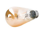 Satco Products, Inc. S9577 2.5ST19/AMB/LED/E26/23K/120V Satco Dimmable 2.5W 2300K Vintage ST19 Filament LED Bulb, Enclosed Rated