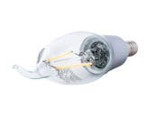 Satco Products, Inc. S9572 2.5W CFC/LED/27K/120V Satco Dimmable 2.5W 2700K CA11 Decorative Filament LED Bulb, Enclosed Fixture Rated