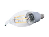 Satco Products, Inc. S9574 4.5W CFC/LED/27K/120V Satco Dimmable 4.5W 2700K CA11 Decorative Filament LED Bulb, Enclosed Fixture Rated