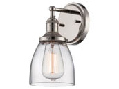 Nuvo Lighting 60-5414 Nuvo Vintage - 1 Light Sconce in Polished Nickel w/Clear Glass - Vintage Lamp Included