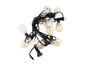 Bulbrite 810055 STRING10_E12_BLACK-A15KT 10 Socket String Light Set With Clear E12 25 Watt Nostalgic Bulbs