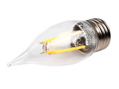 Bulbrite 776675 LED4CA10/27K/FIL/E26/2 Dimmable 4W 2700K Decorative Filament LED Bulb, Enclosed Fixture Rated