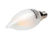 Bulbrite 776661 LED2CA10/27K/FIL/E12/F/2 Dimmable 2.5W 2700K Decorative Frosted Filament LED Bulb, Enclosed Fixture Rated