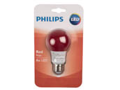 Philips Lighting 463216 BC8A19/LED/RED/ND 120V Philips Non-Dimmable 8W Red A19 LED Bulb