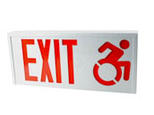 Value Brand 31753 MODIFIED-ISA-EXIT Steel Exit Sign Featuring Modified Wheelchair Accessibility Symbol, White