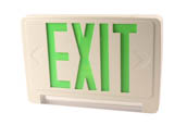 Exitronix GCLED-U-WH LED Exit/Emergency Sign With Light Bar, Green Letters, Battery Backup, and Remote Head Capability.