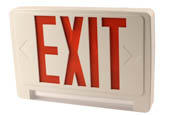 Exitronix CLED-U-WH LED Exit/Emergency Sign With Light Bar, Red Letters, Battery Backup, and Remote Head Capability.