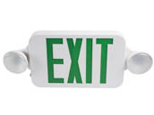 MaxLite 14101489 EXC-GW Maxlite LED Dual Head Exit/Emergency Sign with LED Lamp Heads, Battery Backup, Green Letters