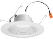 "Lithonia Lighting 240W37 65BEMW LED 27K 90CRI M6 Lithonia Dimmable 12 Watt 5/6"" 2700K Recessed Downlight, Baffle Trim, White"