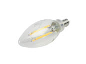 Bulbrite 776626 LED5B11/27K/FIL/E12/3 Dimmable 5W 2700K Decorative Filament LED Bulb, Enclosed Fixture Rated