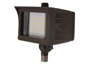 "MaxLite 14100146 FMS30UW-50BKTPC Maxlite 100 Watt HID Equivalent, 30 Watt 5000K LED Flood Light Fixture With 1/2"" Threaded Knuckle & Photocell"