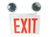 Exitronix VEXCL-8-S-WH-2 New York City Approved Steel Combination LED Exit, Dual Head Lights
