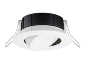 "Lithonia Lighting 254F1E WF3 ADJ LED 40K 90CRI MW M6 Lithonia WF3 ADJ Wafer, 7.6W, 120V 4000K Dimmable LED 3"" Tilt Adjustable Gimbal Recessed Downlight, White"