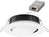 "Lithonia Lighting 254HKS WF4 ADJ LED 27K30K35K 90CRI MW M6 Lithonia WF4 ADJ Wafer, 9.7W, 120V 2700/3000/3500K Color Switchable Dimmable LED 4"" Tilt Adjustable Gimbal Recessed Downlight, White"