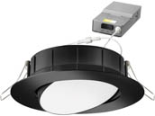 "Lithonia Lighting 254HLL WF4 ADJ LED 30K40K50K 90CRI MB M6 Lithonia WF4 ADJ Wafer, 10W, 120V 3000/4000/5000K Color Switchable Dimmable LED 4"" Tilt Adjustable Gimbal Recessed Downlight, Black"