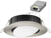 "Lithonia Lighting 254HLN WF4 ADJ LED 30K40K50K 90CRI BN M6 Lithonia WF4 ADJ Wafer, 10W, 120V 3000/4000/5000K Color Switchable Dimmable LED 4"" Tilt Adjustable Gimbal Recessed Downlight, Nickel"