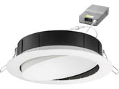"Lithonia Lighting 254HNH WF6 ADJ LED 30K40K50K 90CRI MW M6 Lithonia WF6 ADJ Wafer, 12W, 120V 3000/4000/5000K Color Switchable Dimmable LED 6"" Tilt Adjustable Gimbal Recessed Downlight, White"