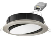 "Lithonia Lighting 254HNS WF6 ADJ LED 30K40K50K 90CRI BN M6 Lithonia WF6 ADJ Wafer, 12W, 120V 3000/4000/5000K Color Switchable Dimmable LED 6"" Tilt Adjustable Gimbal Recessed Downlight, Nickel"
