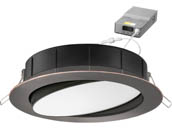 "Lithonia Lighting 254HNW WF6 ADJ LED 30K40K50K 90CRI ORB M6 Lithonia WF6 ADJ Wafer, 12W, 120V 3000/4000/5000K Color Switchable Dimmable LED 6"" Tilt Adjustable Gimbal Recessed Downlight, Bronze"