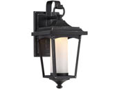 Satco Products, Inc. 62-821 Essex 11W DIM Outdoor LG Wall Lantern Satco Essex 11 Watt Dimmable Outdoor LED Wall Lantern with Etched Glass, Sterling Black