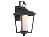 Satco Products, Inc. 62-822 Essex 14W DIM Outdoor Wall Lantern Satco Essex 14 Watt Dimmable Outdoor LED Wall Lantern with Etched Glass, Sterling Black