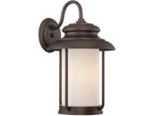 Satco Products, Inc. 62-632 Bethany 10W LED LG Wall Lantern Satco Bethany 10 Watt LED Large Wall Lantern with Satin White Glass, Mahogany Bronze Finish