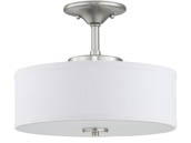 "Progress Lighting P350134-009-30 Inspire 17 Watt 13"" LED Semi-Flush Fixture, Nickel Finish, 3000K"
