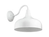 "Sunlite 46068-SU FIX/GN/E26/WHITE 12"" White Gooseneck Barn Fixture, Uses Up To a 23 Watt LED Bulb, Not Included"