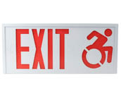 Exitronix CT700E-WB-WH Steel Exit Sign Featuring Modified Racer-Style Wheelchair Accessibility Symbol, White