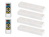 Brilliant Evolution BRRC120IR4 4-Pack LED White Undercabinet Wireless Battery Operated Light Fixtures with Two Remotes