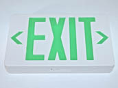 Simkar SK6600080 SWLEDBGW White Plastic Wet Location Exit Sign Green Lettering Battery Backup