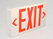 Simkar SK6600055 SWLEDBRW White Wet Location Exit Sign Red Lettering, Battery Backup