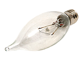 Bulbrite 10W 120V Clear Krypton Bent Tip Decorative Bulb, E12 Base