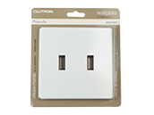 Lutron Fassada Screwless 2-Gang Wallplate, White