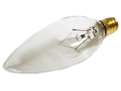 Bulbrite 25W 120V Clear Blunt Tip Decorative Bulb, E12 Base