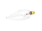 Bulbrite 25W 120V Clear Bent Tip Decorative Bulb, E12 Base