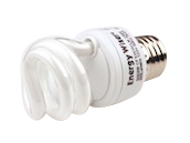 Bulbrite 5W 120V Warm White Spiral CFL Bulb, E26 Base