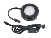 American Lighting 4.3 Watt, 120V AC, MVP Single LED Puck Light Kit With Roll Switch and 6 Ft. Power Cord - Black