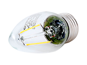 Satco Dimmable 2.5W 2700K C11 Decorative Filament LED Bulb, Enclosed Fixture Rated