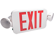 Fulham Firehorse LED Dual Head Exit/Emergency Sign With LED Lamp Heads, Red Letters