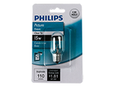 Philips 15W 120V T6 Clear Tube E12 Base