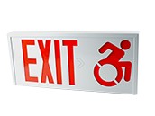 Steel Exit Sign Featuring Modified Wheelchair Accessibility Symbol, White