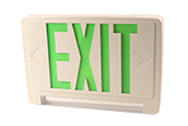 Exitronix LED Exit/Emergency Sign With Light Bar, Green Letters, Battery Backup, and Remote Head Capability.