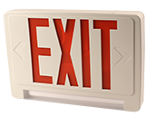 Exitronix LED Exit/Emergency Sign With Light Bar, Red Letters, Battery Backup, and Remote Head Capability.