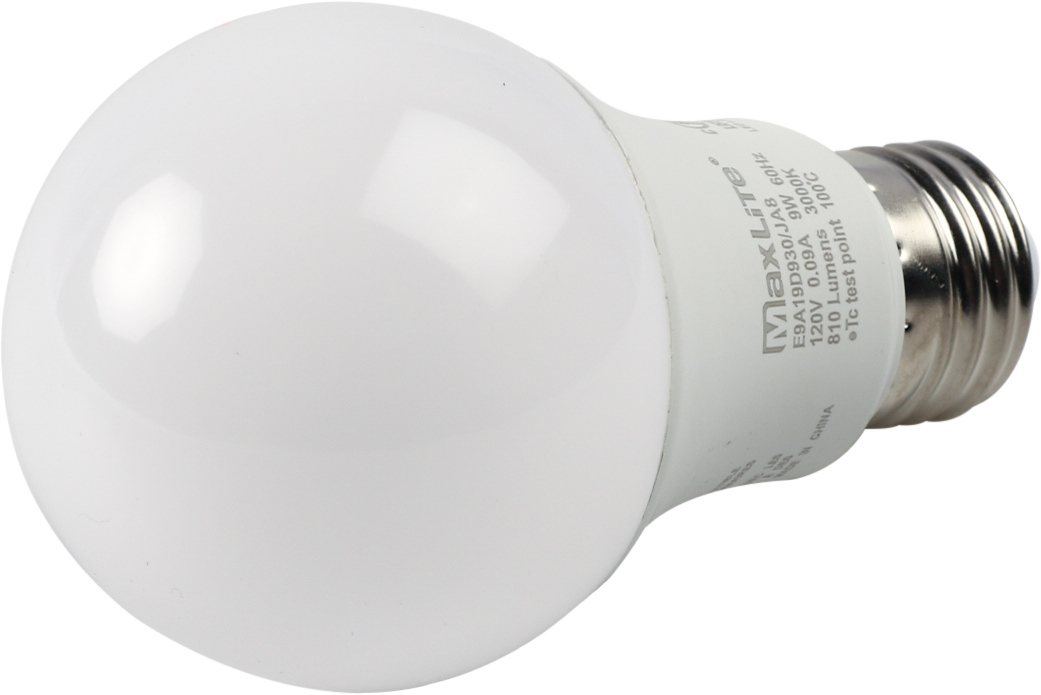 Maxlite Dimmable 9W 3000K A19 LED Bulb, 92 CRI, JA8 Compliant, Enclosed Fixture Rated