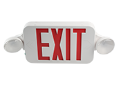 Maxlite LED Dual Head Exit/Emergency Sign With LED Lamp Heads, Battery Backup, Red Letters, Title 20 Compliant